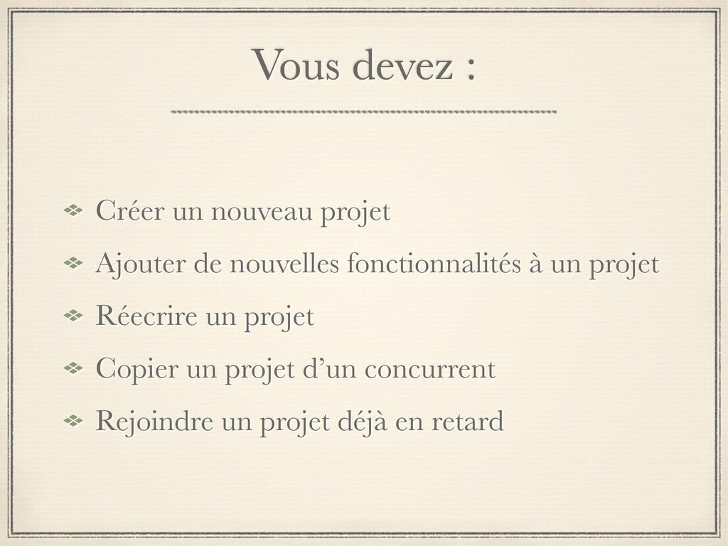 Vous devez : Créer un nouveau projet Ajouter de...