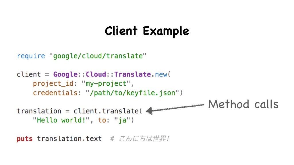 Method calls Client Example