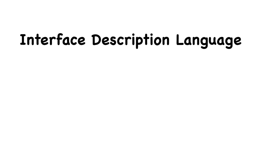 Interface Description Language