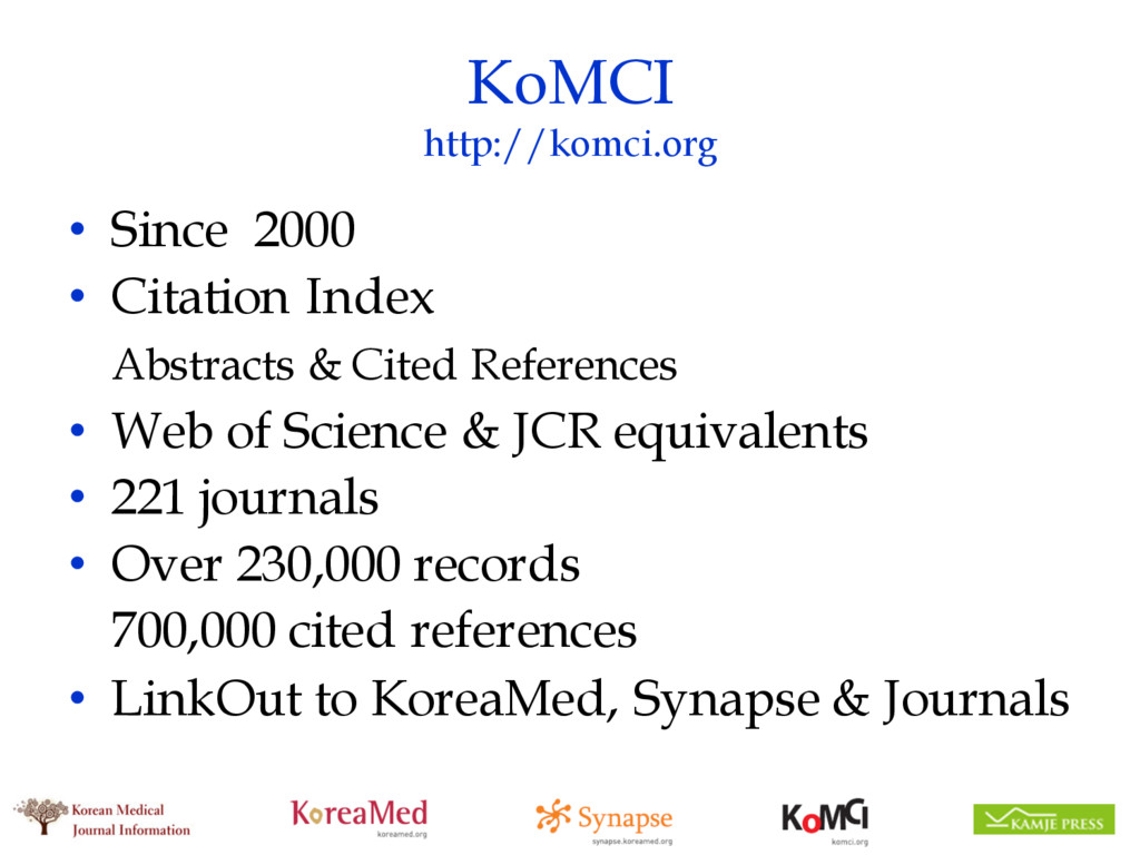 KoMCI http://komci.org • Since 2000 • Citation ...