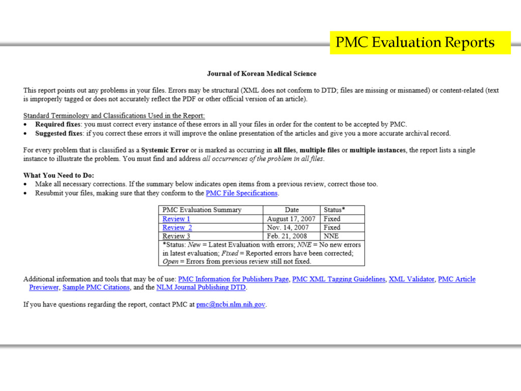 PMC Evaluation Reports