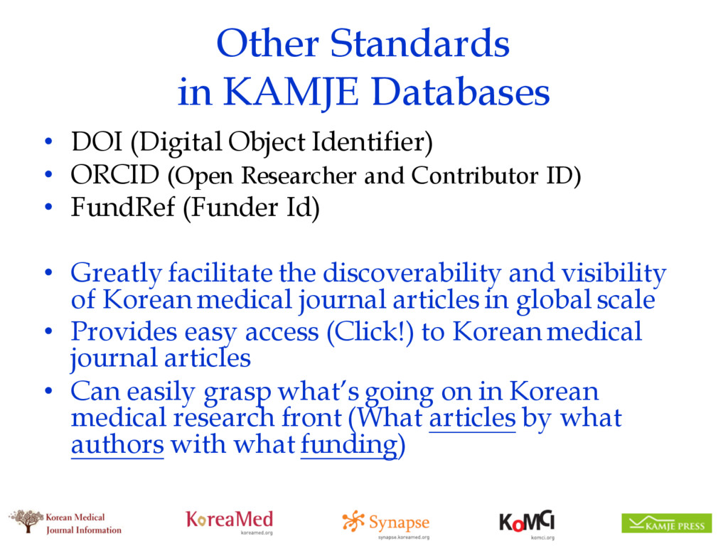 Other Standards in KAMJE Databases • DOI (Digit...