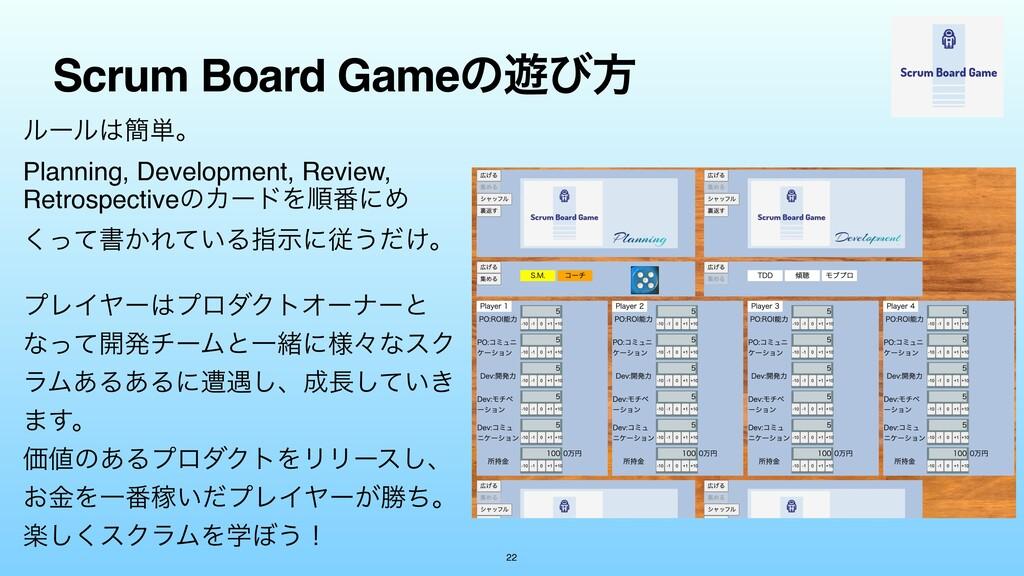 Scrum Board Gameͷ༡ͼํ 22 ϧʔϧ؆୯ɻ Planning, Deve...