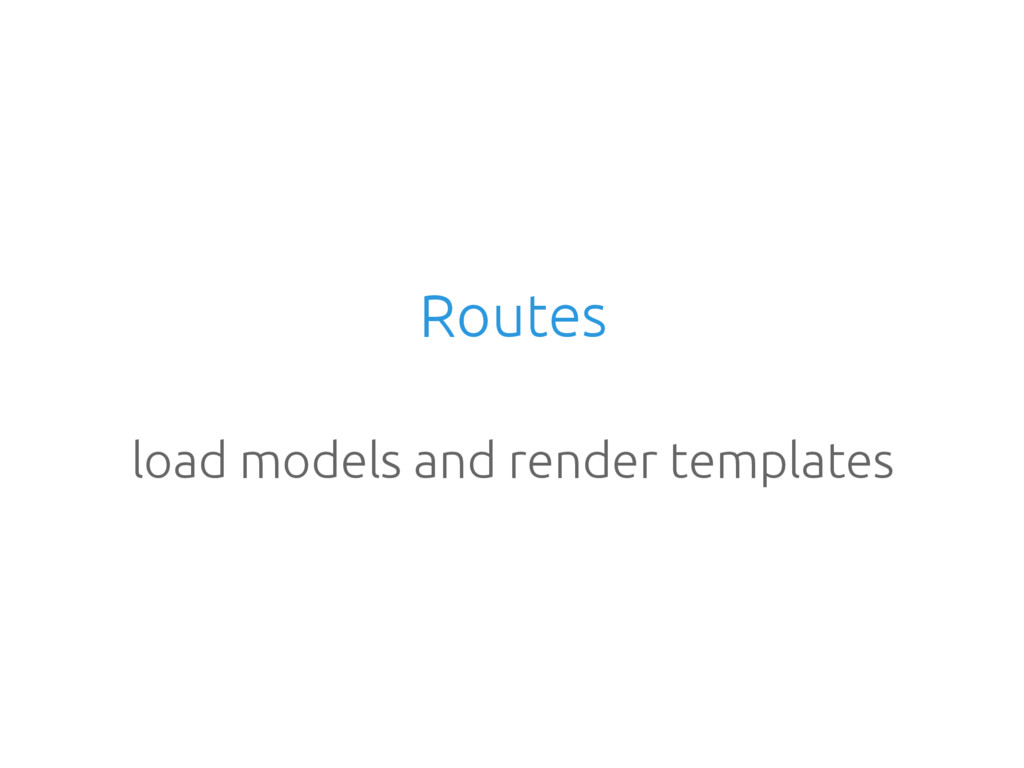 Routes load models and render templates
