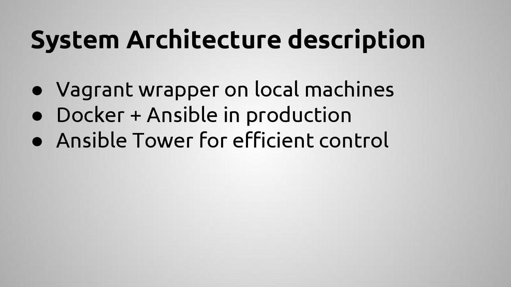 System Architecture description ● Vagrant wrapp...