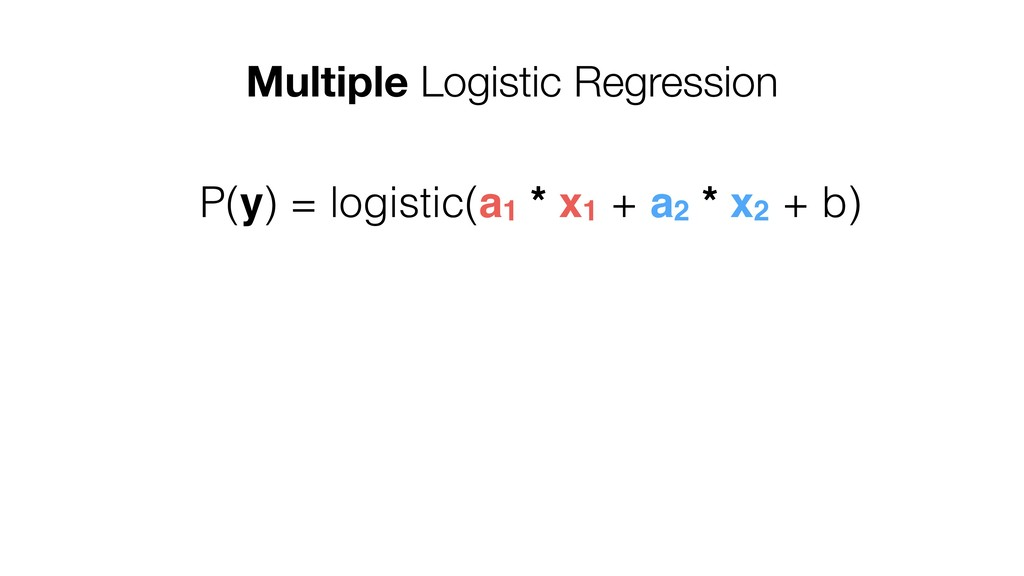Multiple Logistic Regression P(y) = logistic(a1...