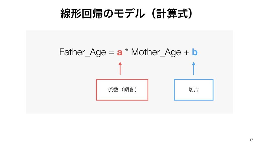 17 Father_Age = a * Mother_Age + b ʢ͖ʣ ย ઢܗ...
