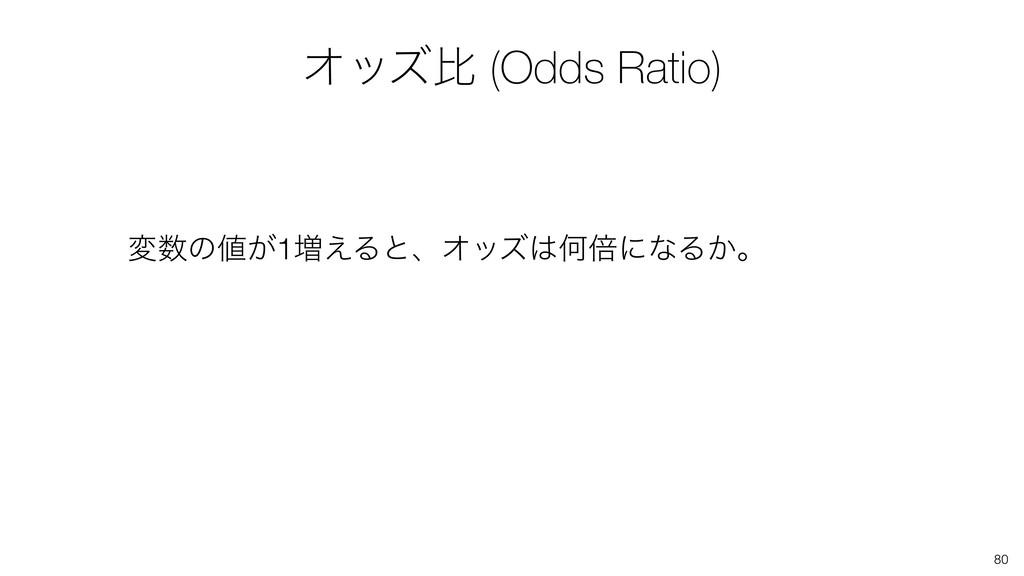 80 มͷ͕1૿͑ΔͱɺΦοζԿഒʹͳΔ͔ɻ Φοζൺ (Odds Ratio)