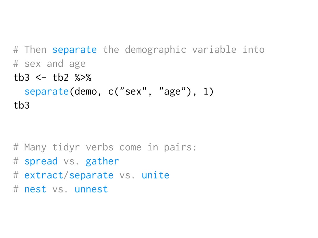# Then separate the demographic variable into #...