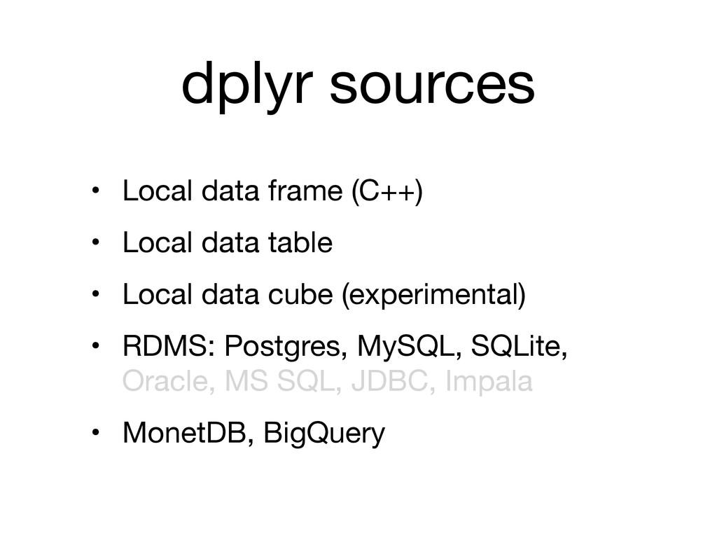 dplyr sources • Local data frame (C++)  • Local...