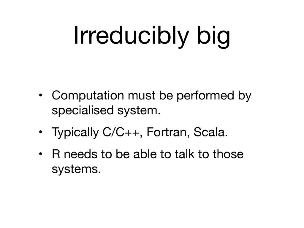 Irreducibly big • Computation must be performed...