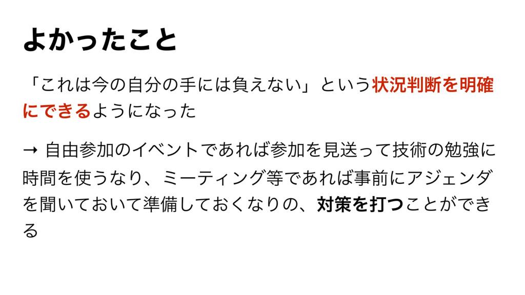 Α͔ͬͨ͜ͱ ʮ͜Εࠓͷࣗͷखʹෛ͑ͳ͍ʯͱ͍͏ঢ়گஅΛ໌֬ ʹͰ͖ΔΑ͏ʹͳͬͨ →...