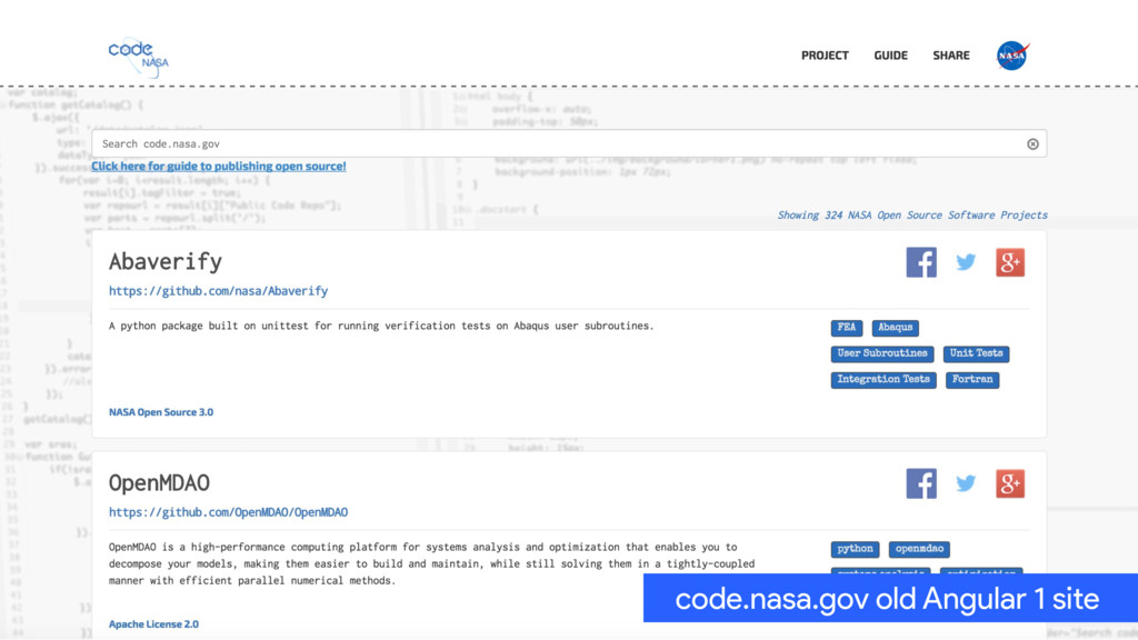 code.nasa.gov old Angular 1 site