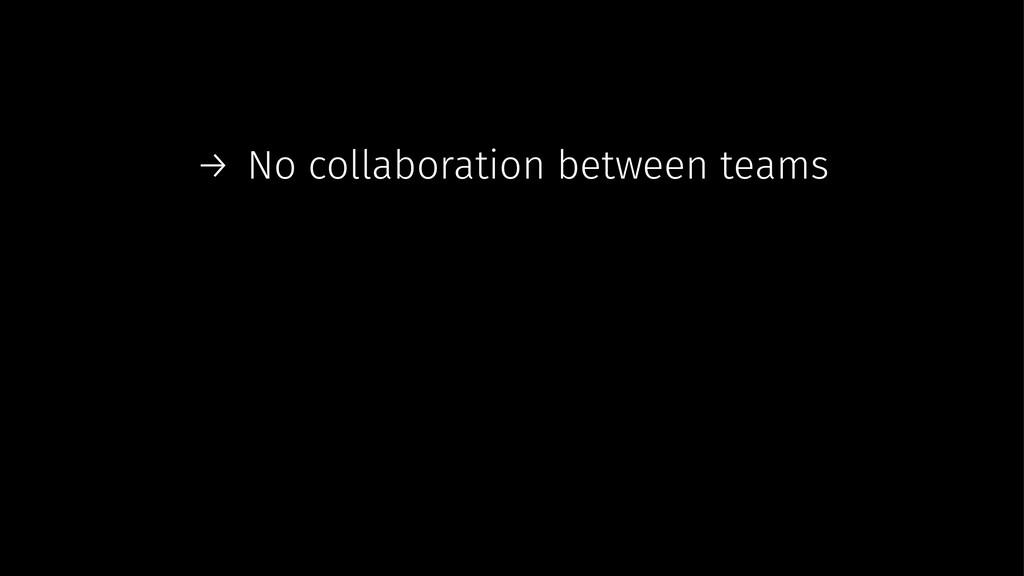 → No collaboration between teams