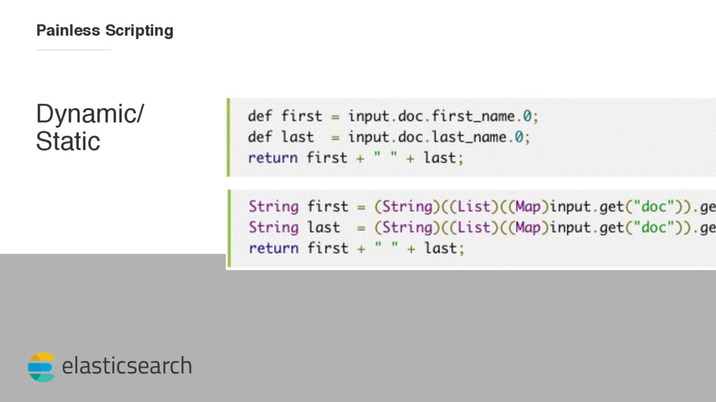 elasticsearch Painless Scripting Dynamic/ Static