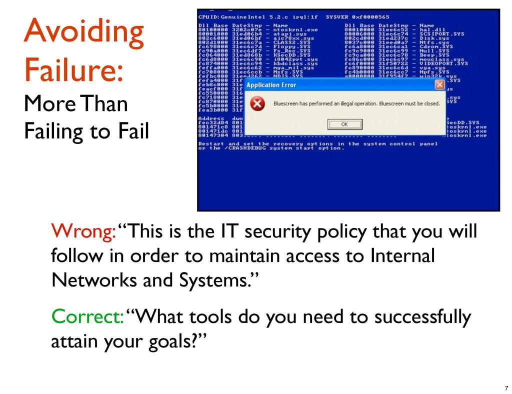 Avoiding Failure: More Than Failing to Fail Wro...