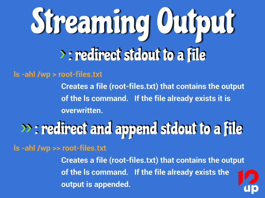 ls -ahl /wp > root-files.txt Creates a file (ro...