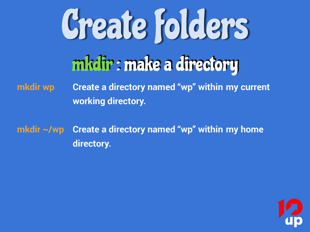 Create folders mkdir wp Create a directory name...