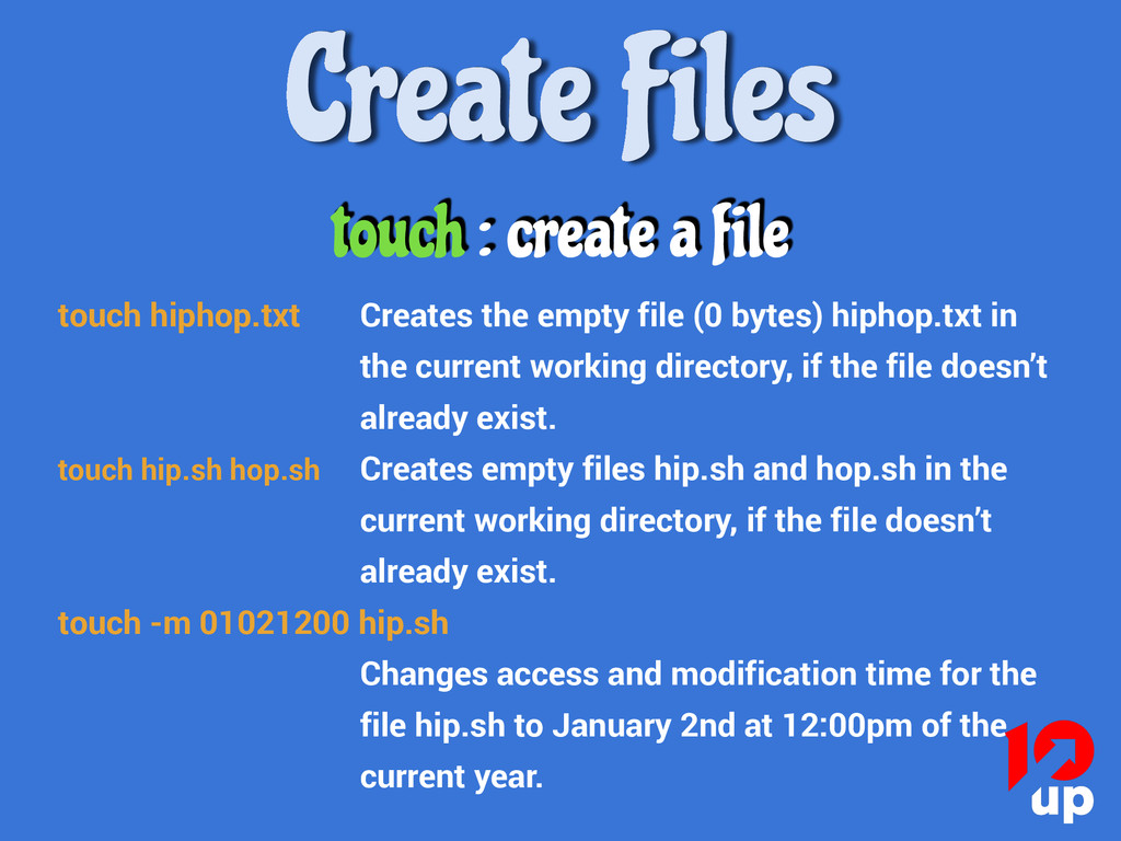 touch : create a file touch hiphop.txt Creates ...