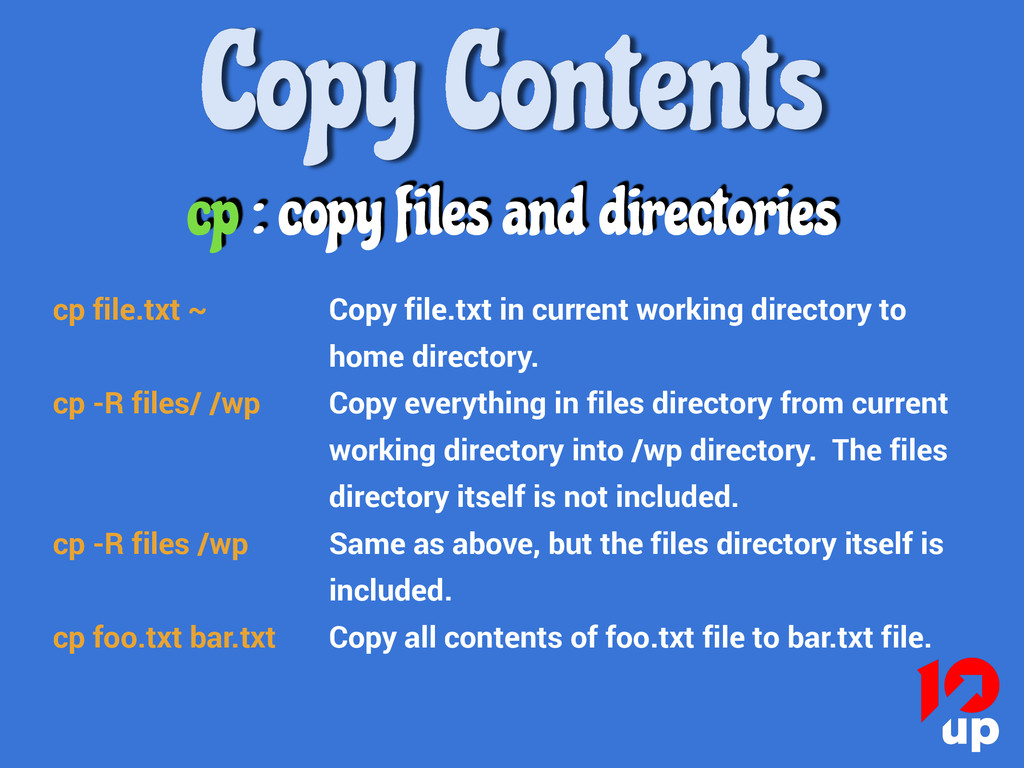 Copy Contents cp : copy files and directories c...