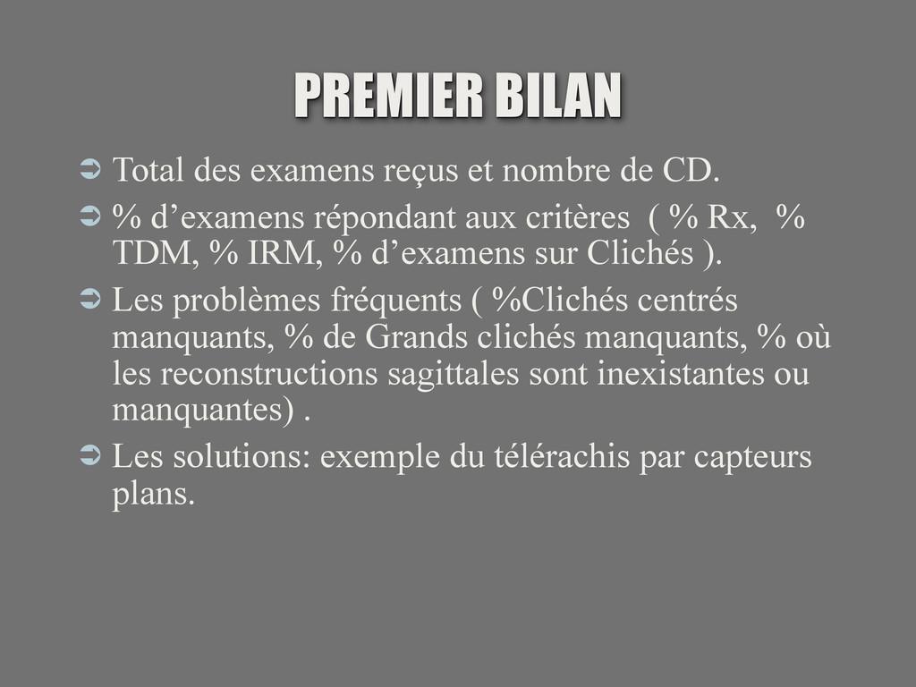 PREMIER BILAN  Total des examens reçus et nomb...