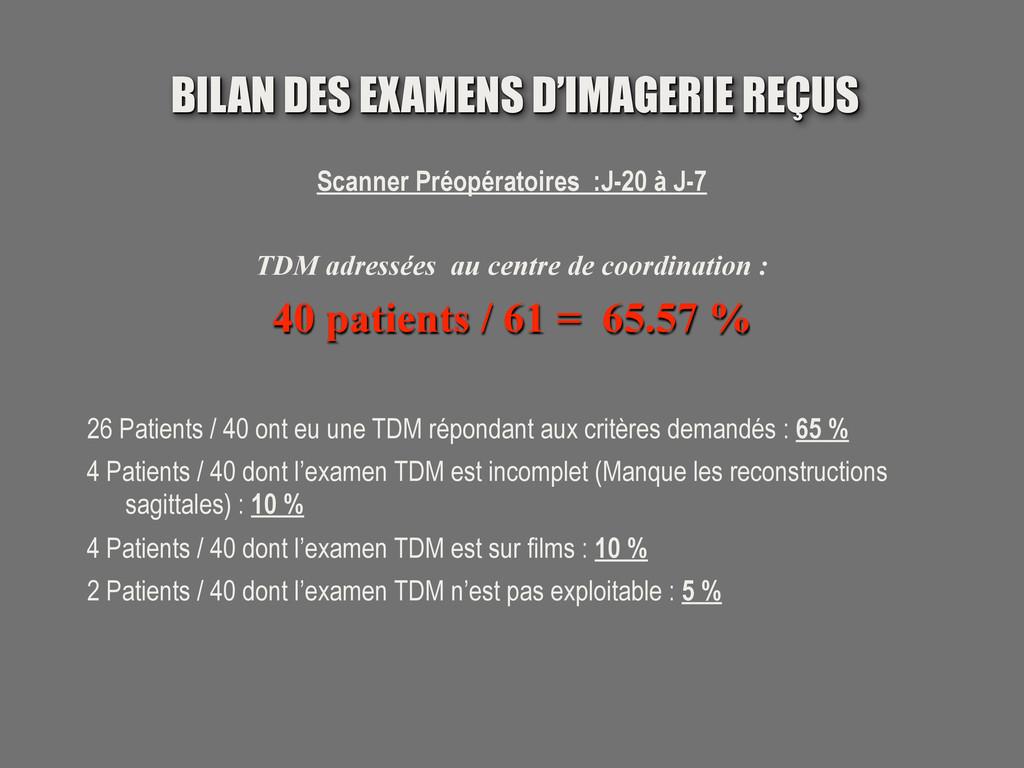 Scanner Préopératoires :J-20 à J-7 TDM adressée...