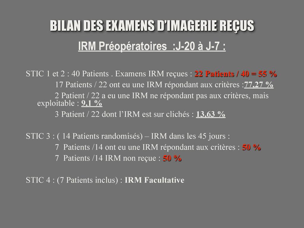 BILAN DES EXAMENS D'IMAGERIE REÇUS IRM Préopéra...