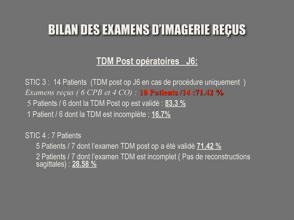 BILAN DES EXAMENS D'IMAGERIE REÇUS TDM Post opé...