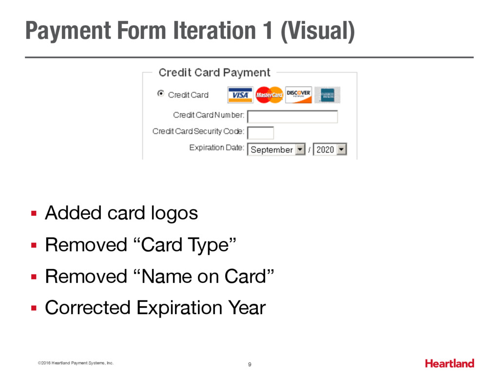 Payment Form Iteration 1 (Visual) ©2016 Heartla...