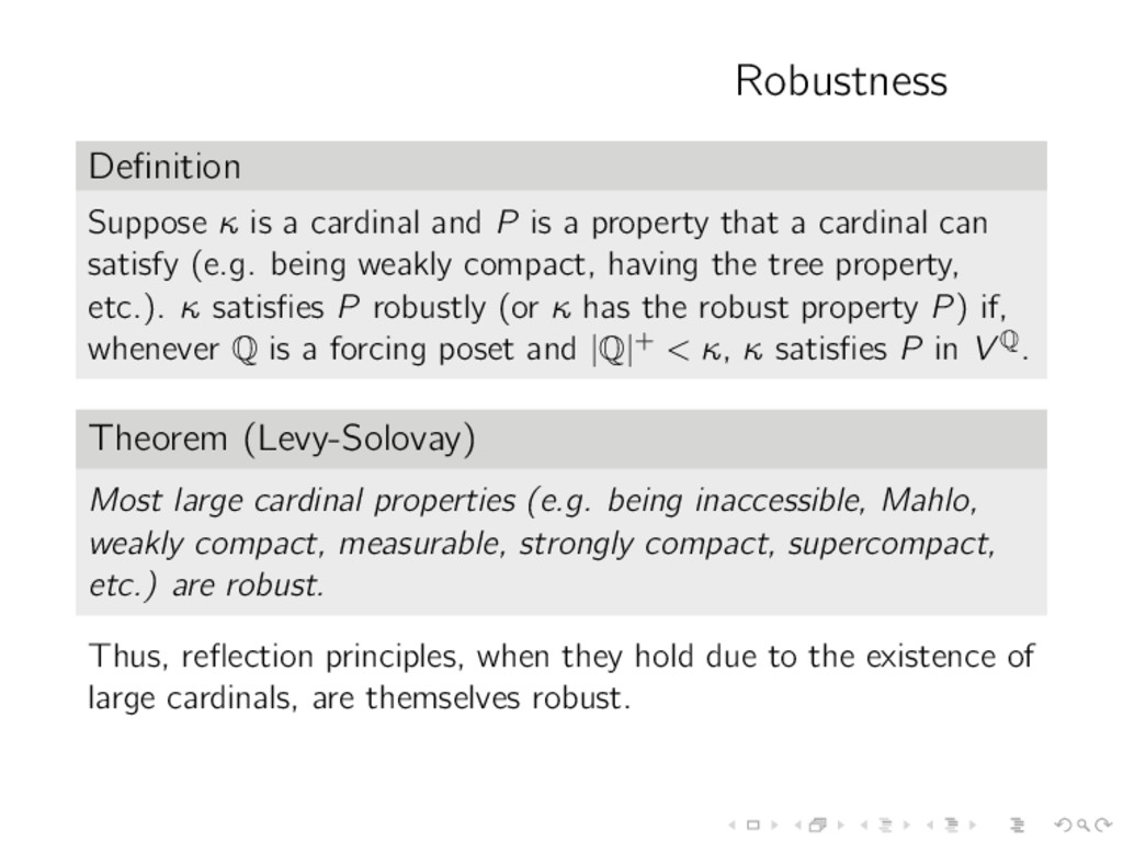 Robustness Definition Suppose κ is a cardinal an...