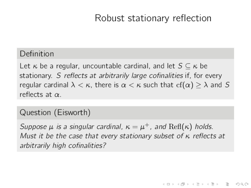 Robust stationary reflection Definition Let κ be ...