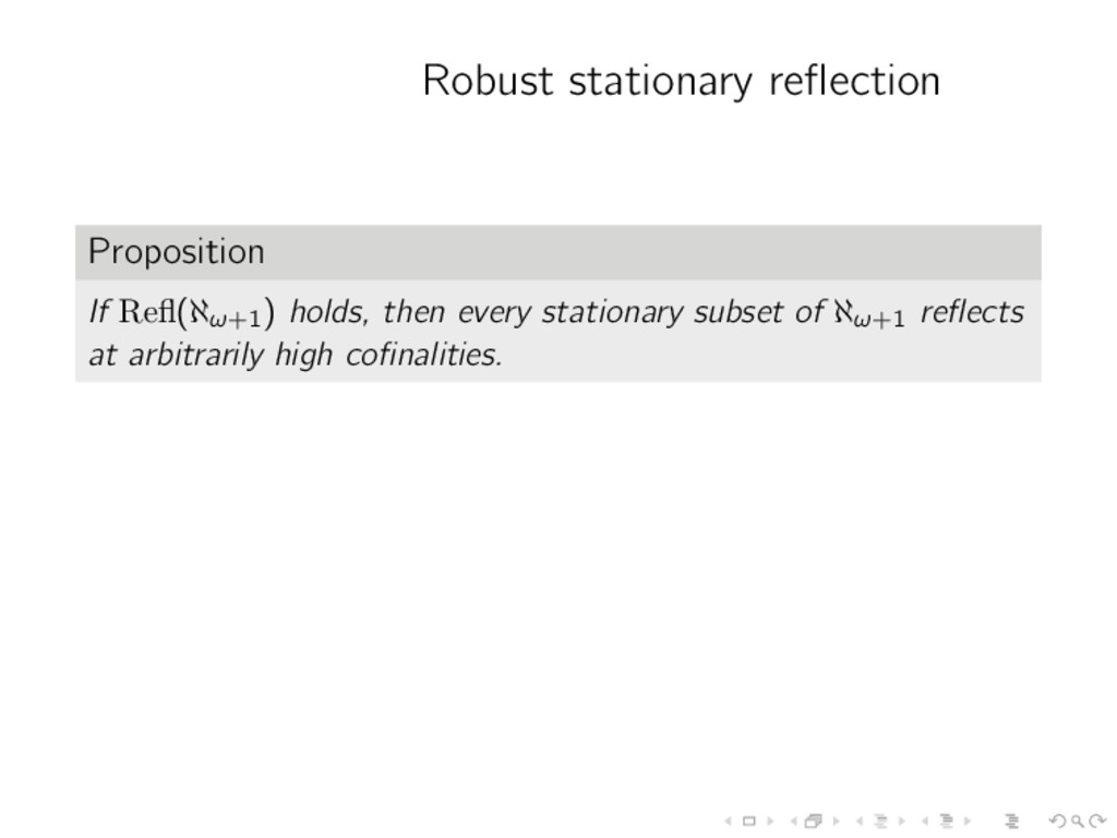 Robust stationary reflection Proposition If Refl(...