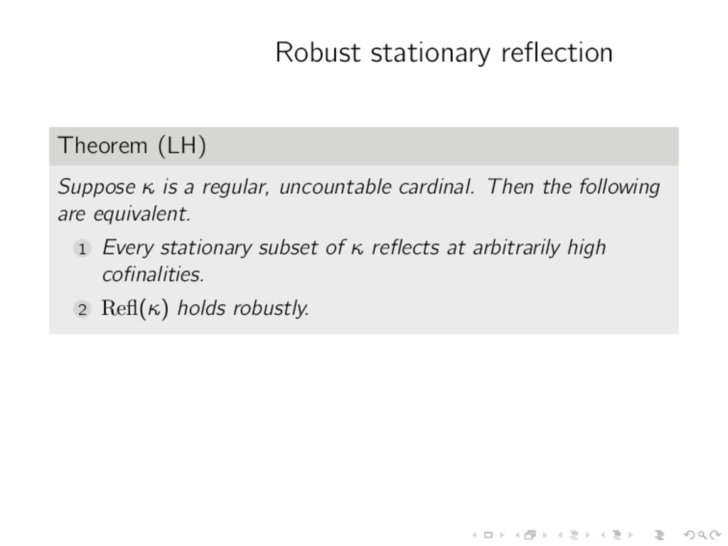 Robust stationary reflection Theorem (LH) Suppos...