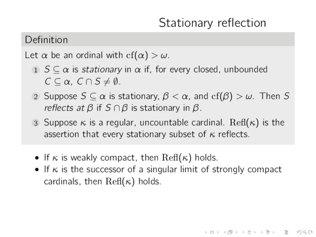 Stationary reflection Definition Let α be an ordi...