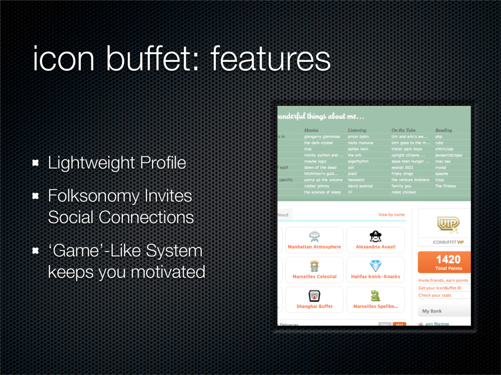 icon buffet: features Lightweight Profile Folkso...