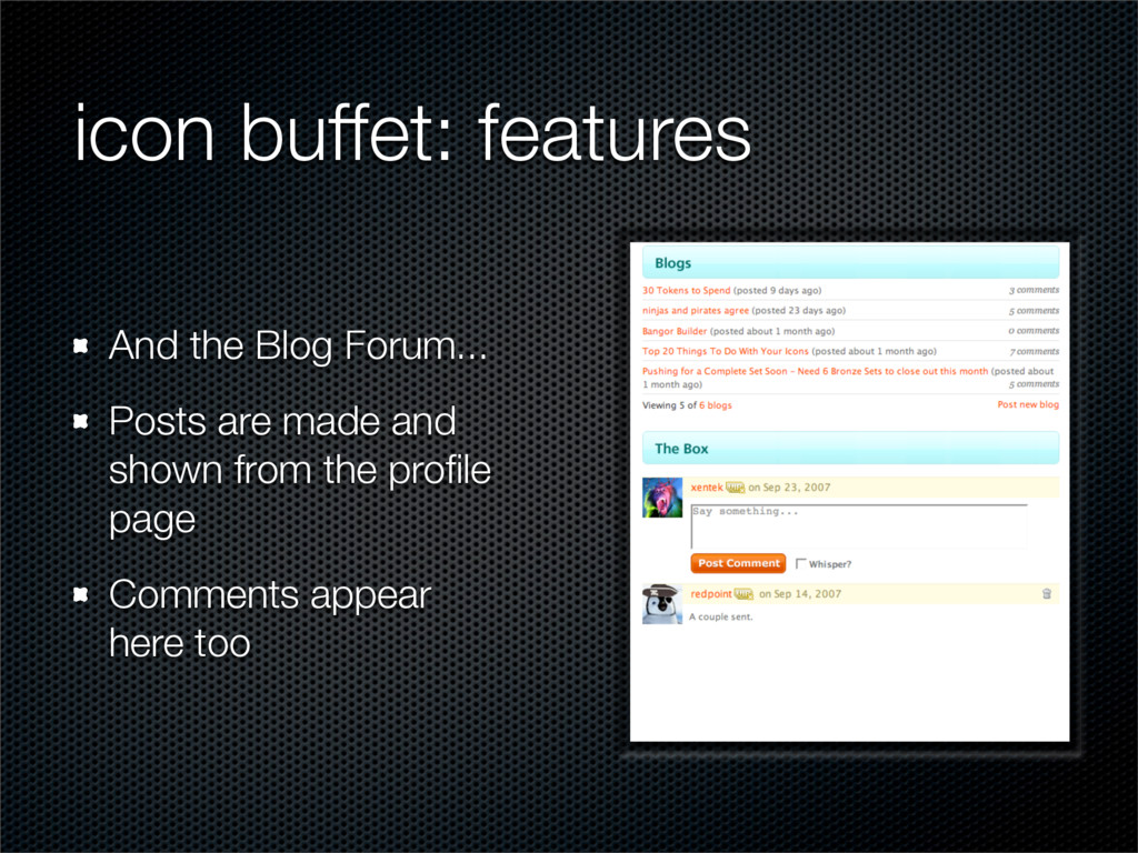 icon buffet: features And the Blog Forum... Pos...