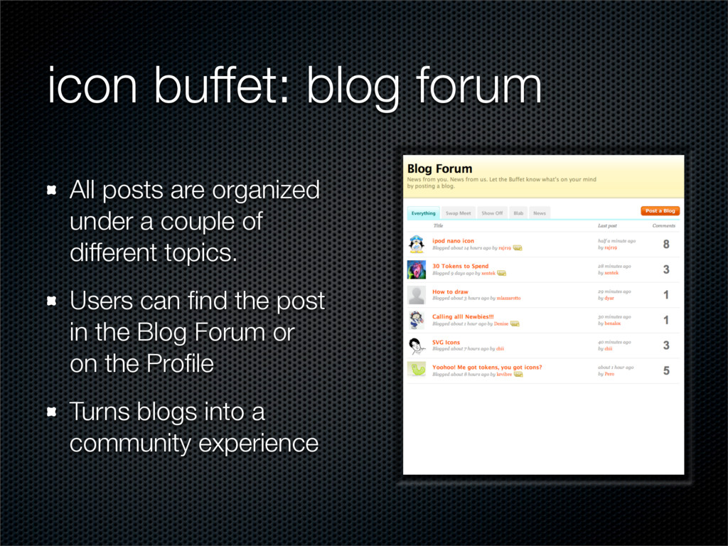 icon buffet: blog forum All posts are organized...