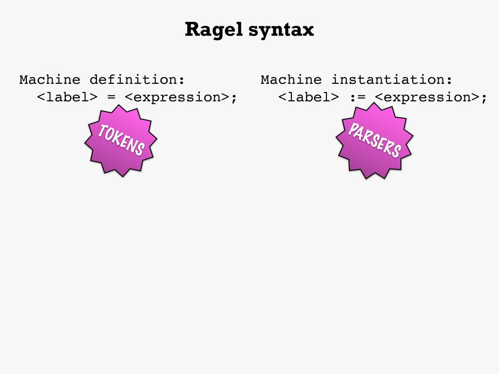Machine definition: <label> = <expression>; Rag...