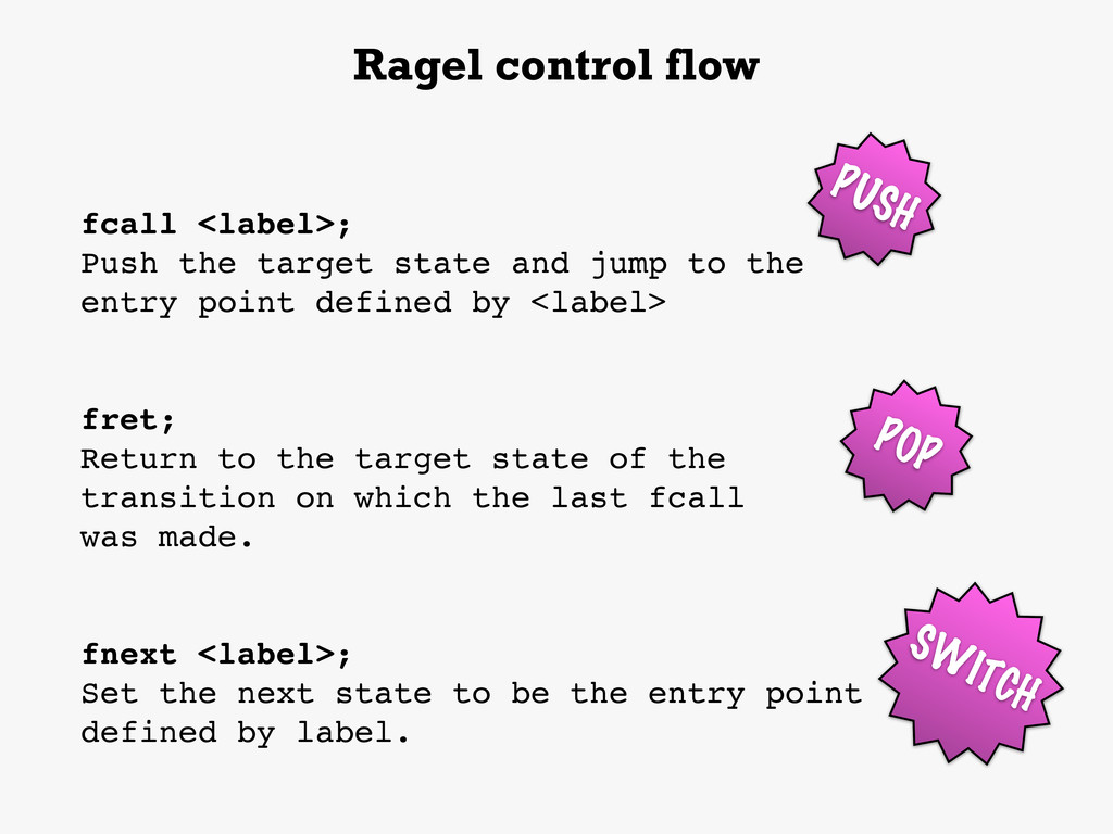 fcall <label>; Push the target state and jump t...