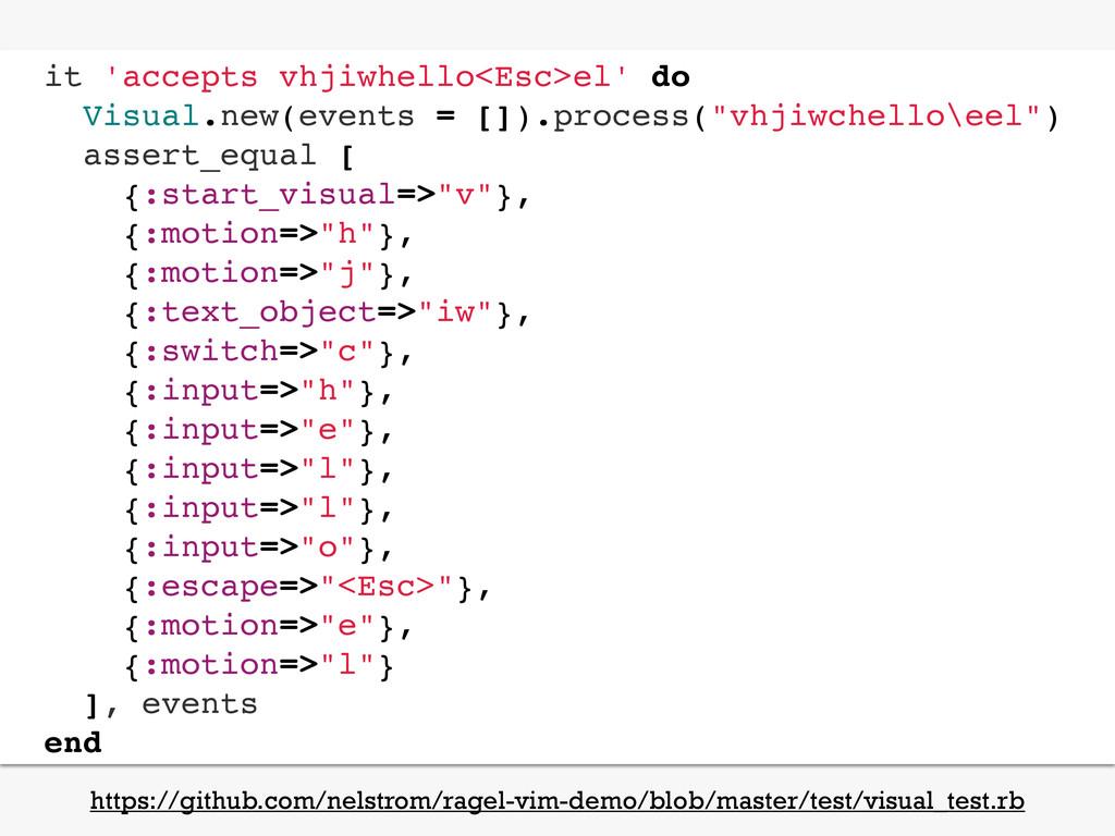 it 'accepts vhjiwhello<Esc>el' do Visual.new(ev...