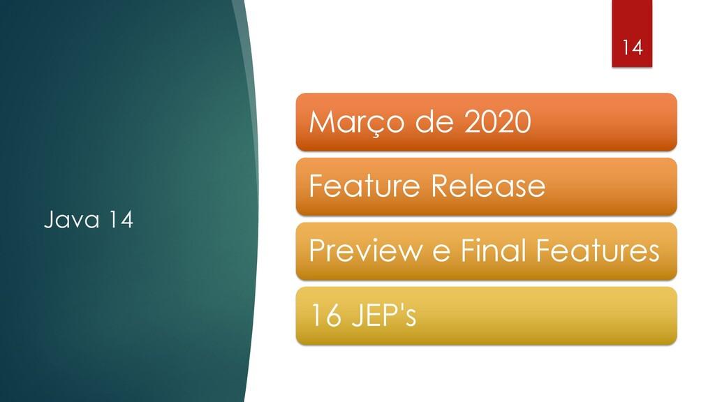 @rodrigograciano Java 14 14 Março de 2020 Featu...