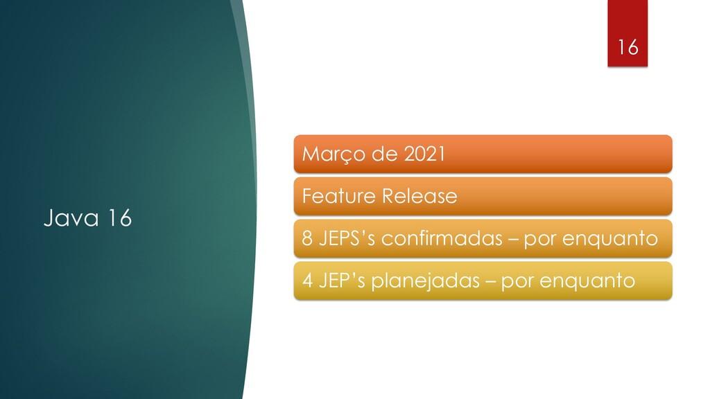 @rodrigograciano Java 16 16 Março de 2021 Featu...