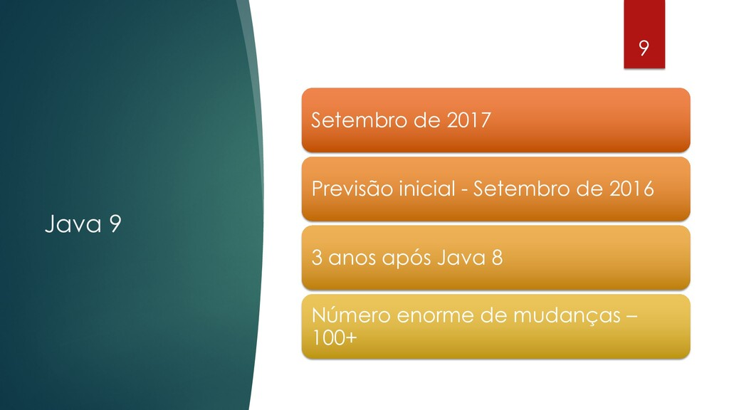 @rodrigograciano Java 9 9 Setembro de 2017 Prev...
