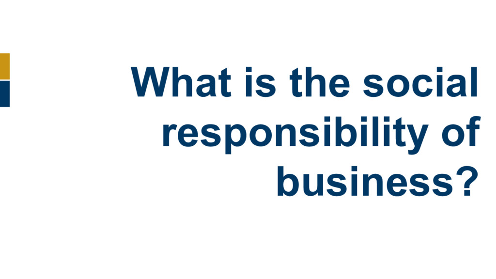 What is the social responsibility of business?