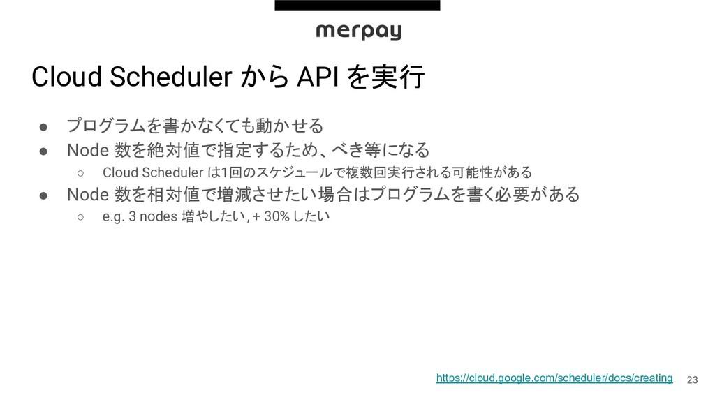 Cloud Scheduler から API を実行 ● プログラムを書かなくても動かせる ●...