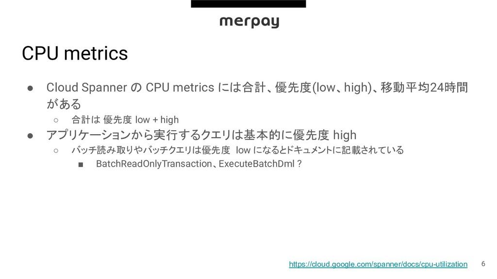 CPU metrics ● Cloud Spanner の CPU metrics には合計、...