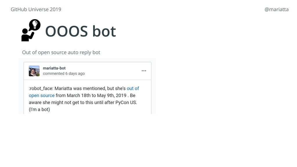 OOOS bot Out of open source auto reply bot GitH...