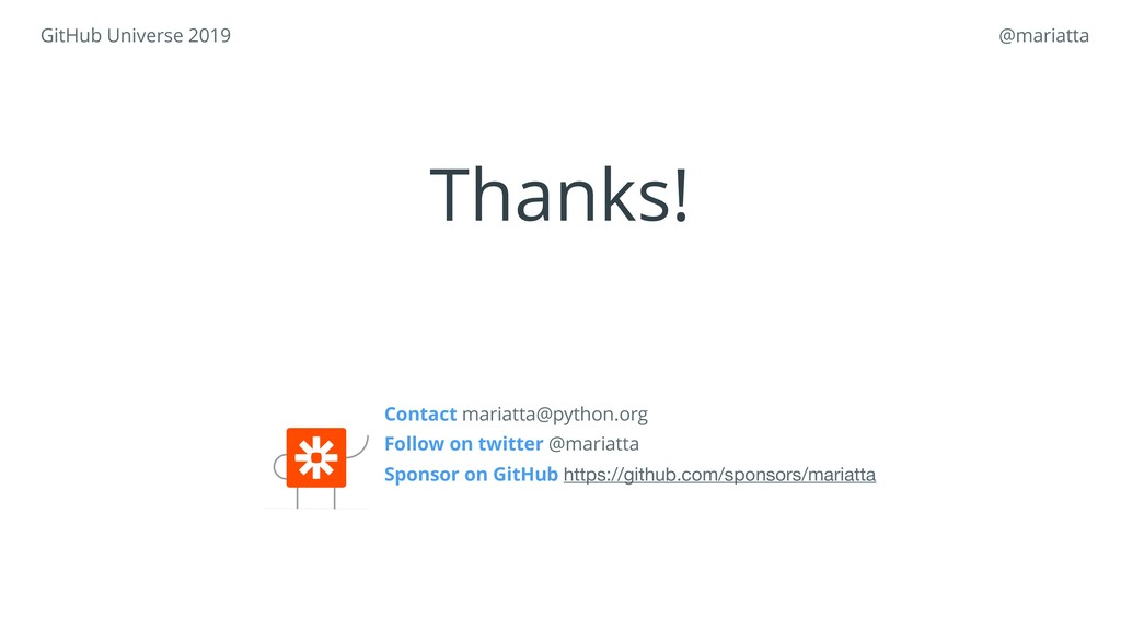 Contact mariatta@python.org Follow on twitter ...