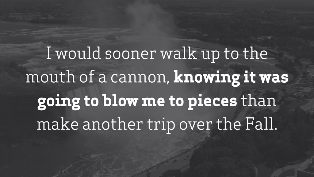 I would sooner walk up to the mouth of a cannon...