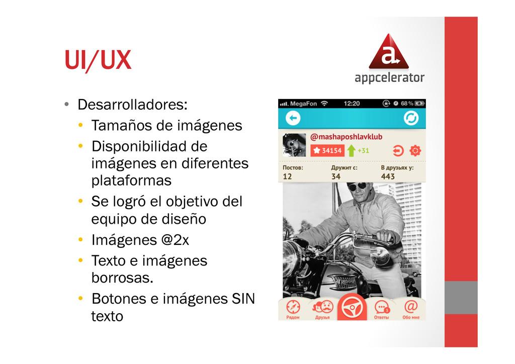 UI/UX • Desarrolladores: • Tamaños de imágene...